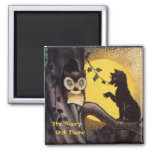 Cat Warning Owl Halloween Magnet