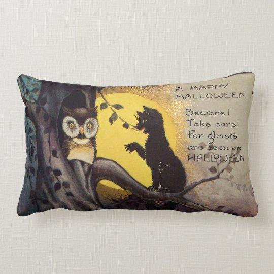 Cat Warning Owl Vintage Halloween Lumbar Pillow