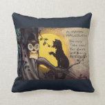 Cat Warning Owl Vintage Halloween Pillow