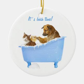 Cat Wash Ceramic Ornament