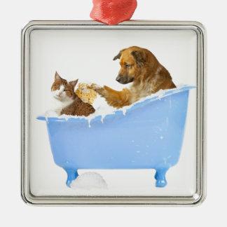 Cat Wash Metal Ornament