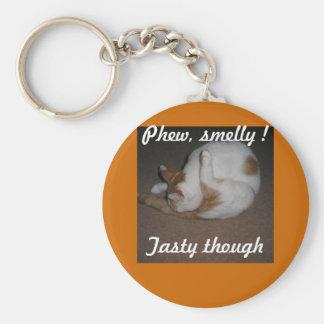 Cat Washing Basic Round Button Keychain