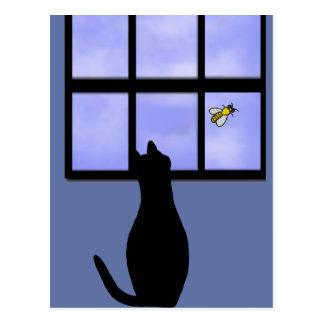 Cat watching bumble bee postcard