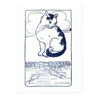 Cat Watching Fish in Pond Postcard