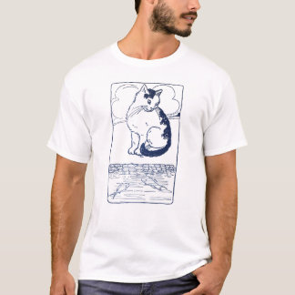 Cat Watching Fish in Pond T-Shirt