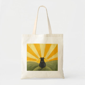 Cat Watching the Sunrise Canvas Bags