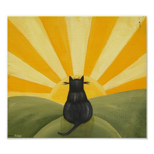 Cat Watching the Sunrise Poster