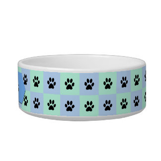 Cat Water Bowl -- Personalized with Cat Paws