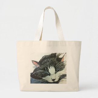 Cat water color and inked drawng jumbo tote bag