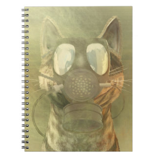 Cat wearing a gas mask note books