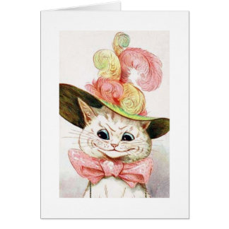 Cat wearing a hat, Louis Wain Greeting Card