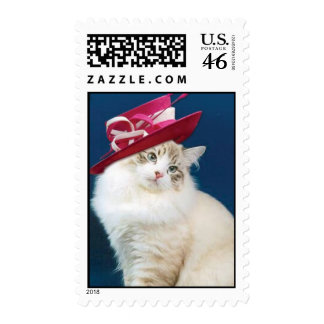 Cat wearing a Hat postage stamp by BestPeople