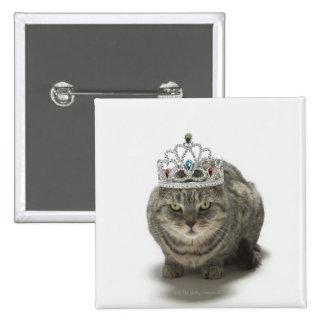 Cat wearing a tiara pinback button