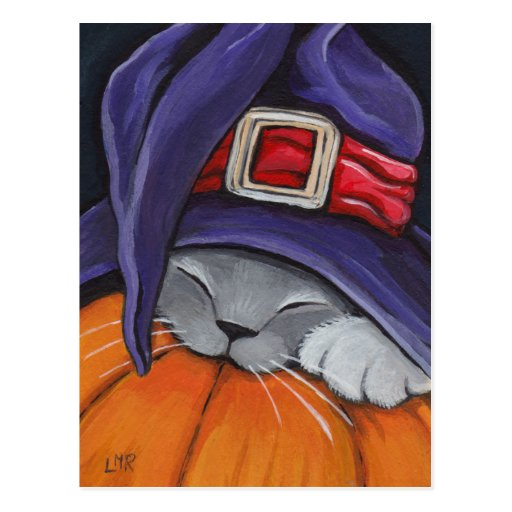 Cat Wearing A Witches Hat Halloween Postcard