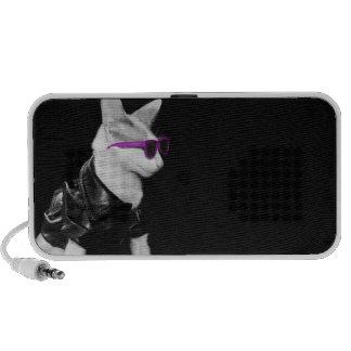 Cat Wearing Biker Jacket and Shades Speakers