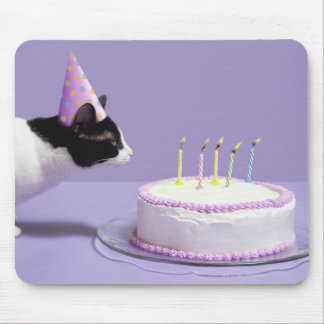 Cat wearing birthday hat blowing out candles on mouse pad