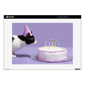 Cat wearing birthday hat blowing out candles on skin for laptop
