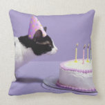 Cat wearing birthday hat blowing out candles throw pillow