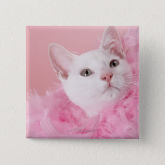 Cat wearing feather boa button
