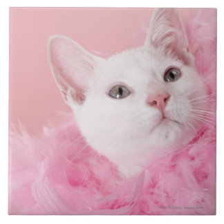 Cat wearing feather boa large square tile