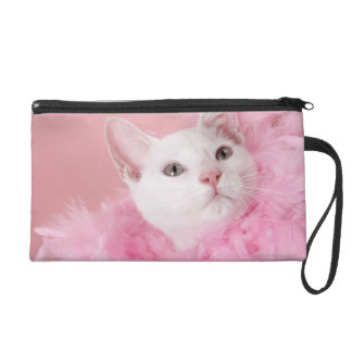 Cat wearing feather boa wristlet purse
