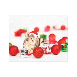 Cat wearing red Santa hat Christmas Canvas Print