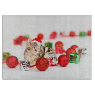 Cat wearing red Santa hat Christmas Ornament Cutting Board