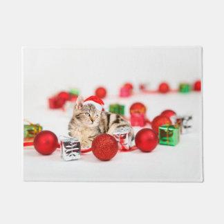 Cat wearing red Santa hat Christmas Ornament Doormat