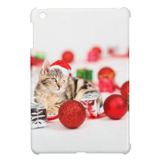 Cat wearing red Santa hat Christmas Ornament iPad Mini Cover