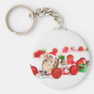 Cat wearing red Santa hat Christmas Ornament Keychain