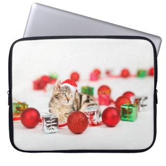 Cat wearing red Santa hat Christmas Ornament Laptop Sleeve