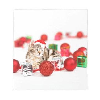 Cat wearing red Santa hat Christmas Ornament Notepad