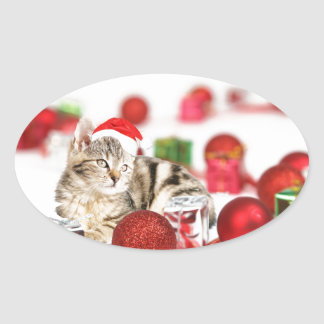Cat wearing red Santa hat Christmas Ornament Oval Sticker