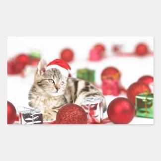 Cat wearing red Santa hat Christmas Ornament Rectangular Sticker