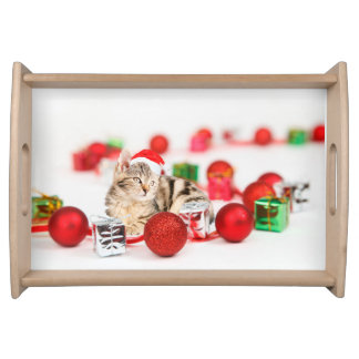 Cat wearing red Santa hat Christmas Ornament Serving Tray