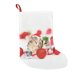 Cat wearing red Santa hat Christmas Ornament Small Christmas Stocking