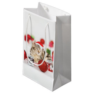 Cat wearing red Santa hat Christmas Ornament Small Gift Bag