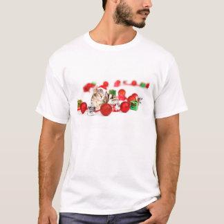 Cat wearing red Santa hat Christmas Ornament T-Shirt