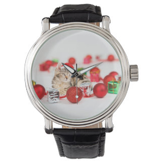 Cat wearing red Santa hat Christmas Ornament Watch