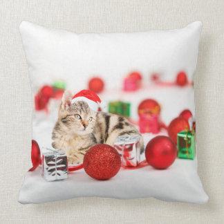 Cat wearing red Santa hat Christmas Throw Pillow