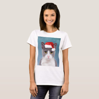 Cat wearing Santa Hat Christmas Portrait T-Shirt