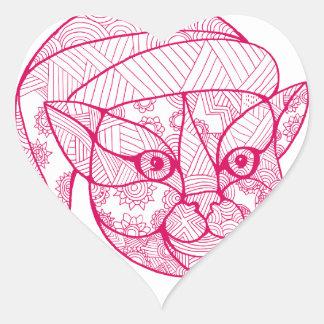 Cat Wearing Santa Hat Mandala Heart Sticker
