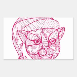 Cat Wearing Santa Hat Mandala Rectangular Sticker
