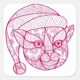 Cat Wearing Santa Hat Mandala Square Sticker