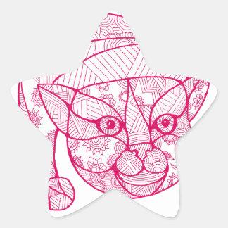 Cat Wearing Santa Hat Mandala Star Sticker