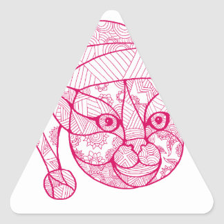Cat Wearing Santa Hat Mandala Triangle Sticker
