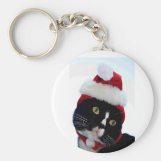 Cat wearing santa hat photograph, BW kitty Basic Round Button Keychain