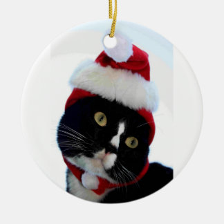 Cat wearing santa hat photograph, BW kitty Double-Sided Ceramic Round Christmas Ornament