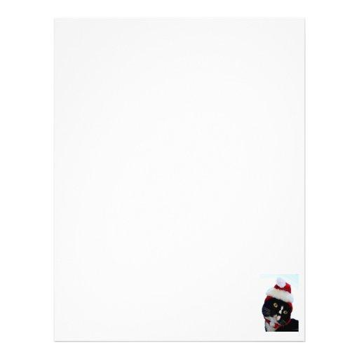 Cat wearing santa hat photograph, BW kitty Letterhead