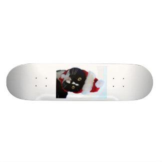 Cat wearing santa hat photograph, BW kitty Custom Skateboard